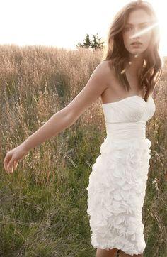 chiffon petal strapless dress