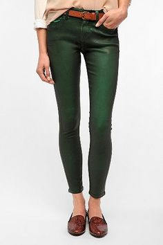 coated green jeans