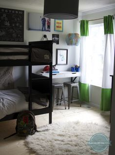 neutral and high contrast boys room.