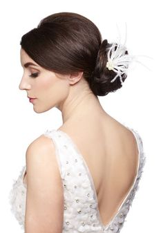 With Great A-Plume Hair Pin - White, Solid, Feathers, Pearls, Special Occasion, Wedding, Luxe, Best, White, Bride
