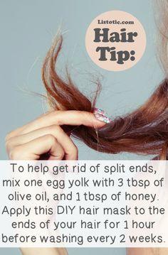 split end hair mask: 1 egg yolk + 3 tbsp olive oil + 1 tbsp of honey, 1 hr before washing, every 2 weeks.