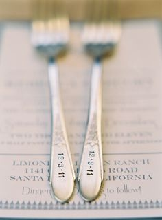 date stamped forks. love.