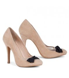 Nude Pumps with Black Bows! So cute :)