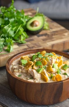 Creamy Crockpot White Chicken Chili - A family favorite made healthier, and so easy too! No cream of chicken soup or seasoning packets.