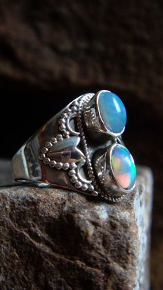 Ethiopian Opal Ring Sterling Silver Opal Ring Opal by ShopSparrow