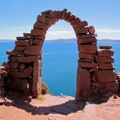 Arch with View to Titicaca lake. [ODDEST name for a lake EVER!]