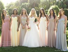 Same dress, different colors- SO PRETTY. long dresses, bride maids, soft colors, bridesmaid dresses, the bride, pastel colors, allure bridal, dress styles, soft pastels
