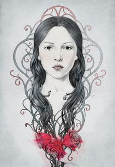 199 by Diego Fernandez, via Behance #portrait #drawing #girl #roses #ornaments #flowers #hair #art #nouveau