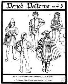 italian renaissance clothing | Details about Men's Italian Renaissance Costume Pattern 1420-1500 size ...