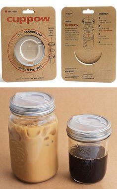 Cuppow. Turn any mason jar in to a travel mug.