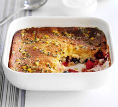 Berry bake with passion fruit drizzle