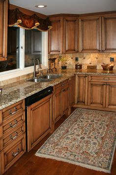 backsplash ideas for hickory cabinets - Google Search