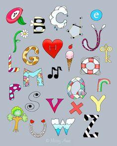 Grey Alphabet poster kids wall art nursery art by wonderlaneart