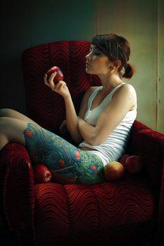 tattoo idea, thigh tattoos, tree, leg tattoos, legs, apples, tattoo photography, forbidden fruit, ink
