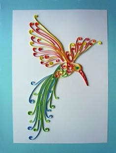 I think i'm going to try ths with a dragonfly or turtle for mothers day! Hummingbird Tattoo, Homemade Greeting Cards, Mothers Day, Homestead Survival, Mother Day Gifts, Paper Quilling, Craft Ideas, Paper Crafts, Art Projects
