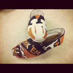 PAINTED TOMS | University of Texas UT hand painted TOMS by HillCountryBoutique