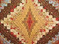 Brown Golden Tan  Red and Blue Diamond Bargello Quilt