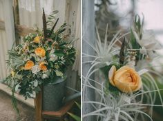 bouquet with feather accent