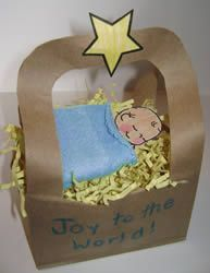 manger with brown bag