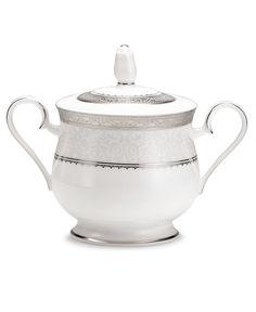 Noritake Dinnerware Odessa Platinum Sugar Bowl with Lid