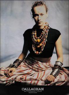 Vintage ads of the 1980s : ( VIP Fashion Australia www.vipfashionaustralia.com - international clothing store ) beaded necklaces, skirts, vintage, tribal jewelry, silver jewelry, cuff bracelets, bohemian style, tribal style, boho fashion