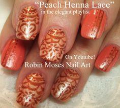 Henna Nail Art on Orange Nails