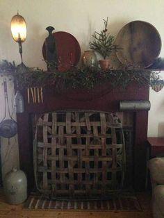 . primit fireplac, tobacco basket