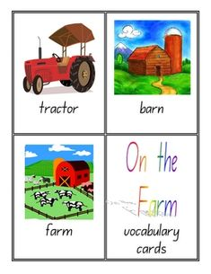 FREE! Farm Vocabulary Cards - 8 pages Themed Resource