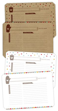 recipe cards free download