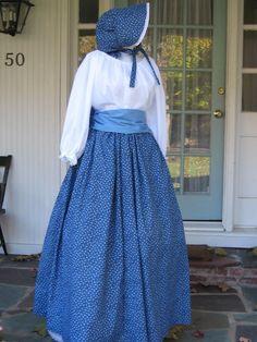 Ladies Prairie Pioneer Civil War Colonial Tea Day Dress bonnet skirt blouse SASS Blue 4 pc costume. $69.99, via Etsy.