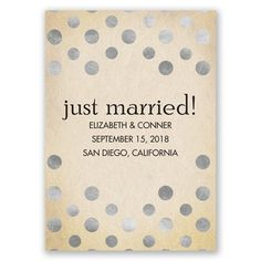 polka dot wedding announcement with faux silver foil. so simple and fresh!