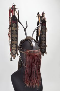 "This ""Big"" headdress of a Siberian Evenk shaman (avun) made of steel was part of a full ritual costume worn for very important rites and rituals. The structure of this headdress reflects its symbolic meaning and contains an archaic image of the model of the Universe. More info at the link."