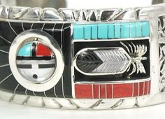 Don Dewa Zuni Native American Indian Sterling Silver Inlay double spinner Bracelet