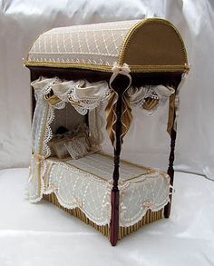 STUNNING Domed French Four Poster Bed ~ Dressed in Silks & Lace