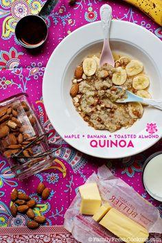 Maple Banana Toasted Almond Quinoa | FamilyFreshCooking.com #glutenfree