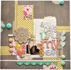 #papercraft #Scrapbook #layout    crate paper...colors...embellies - amyheller