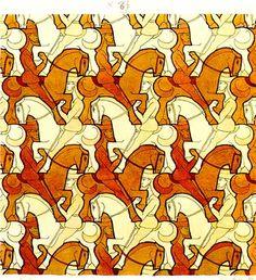 'Horsemen' (1946): Tessellation art by M. C. Escher