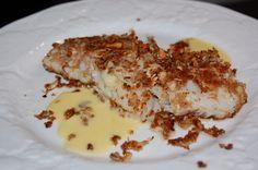 encrust fish, almonds, white wines, real foods, fun recip, almond encrust, health foods, beurr blanc, blanc sauc