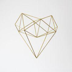 Brass Heart Himmeli Mobile / Modern Hanging Mobile / Geometric Ornament / Minimalist Home Decor