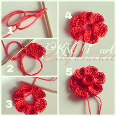 Easy crochet: Flowers - Tutorial ❥ 4U / /hf
