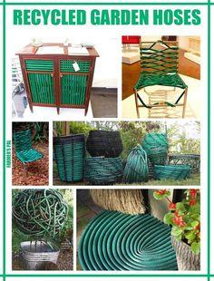 Cool recycled garden, craft, idea, recycl garden, garden hose, outdoor, gardens, repurpos, diy