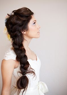 braided to one side, long hairstyles with braids, braided extensions, wedding side braid hairstyles, thick braid, braided bride hair, bold hairstyles, long braided hairstyles, hairstyles braid