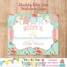 SHABBY CHIC TEA welcome sign  You Print by PrettyPartyCreations, $7.50
