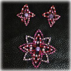 Alice Caviness Rhinestone Brooch Earrings Set in Pink and Purple