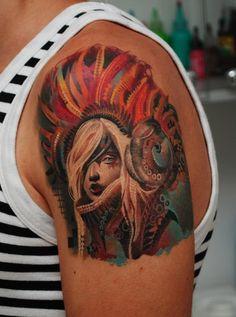 "Fair Haired Lady in Elaborate Headdress Tattoo by Denis Sivak at Tattoo Studio ""L.O.V.E. Machine"" in Odessa, Ukraine"