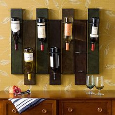 Leeds Wall Mount Wine Rack | Bar| Kitchen & Dining | World Market- Could probably make (pallets!)
