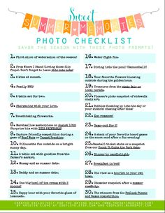 Summer Memories Photography Bucket List