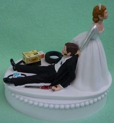 Wedding Cake Topper Auto Mechanic Grease Monkey Racing Car Truck Groom Themed w/ Garter, Display Box