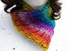 Ravelry: Free Rainbow Ribbed Crochet Neckwarmer Scarflette pattern by Stace Clement