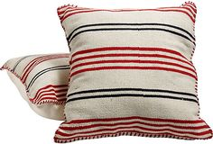 Red & navy striped cotton pillows.